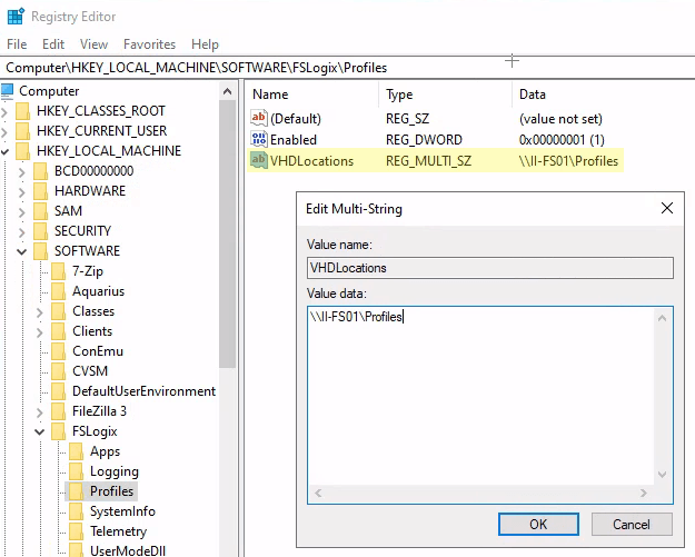 Screenshot of the registry editor to direct the FSLogix profiling services on WVD in Azure.