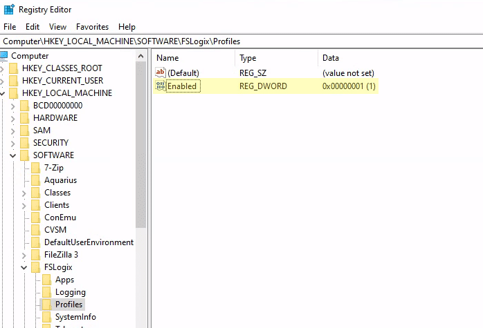 Screenshot of the registry editor to enable FSLogix profiling services on WVD in Azure.