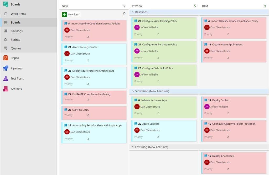 Screenshot of Azure Boards kanaban board.
