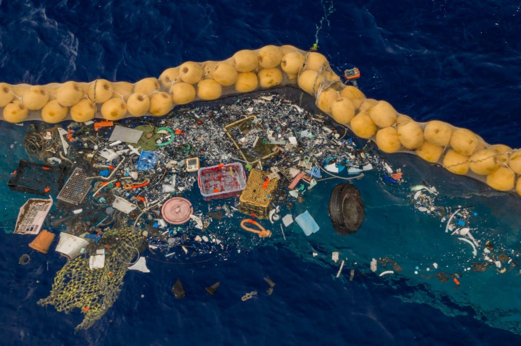 Photo shows large amounts of ocean plastic collected.