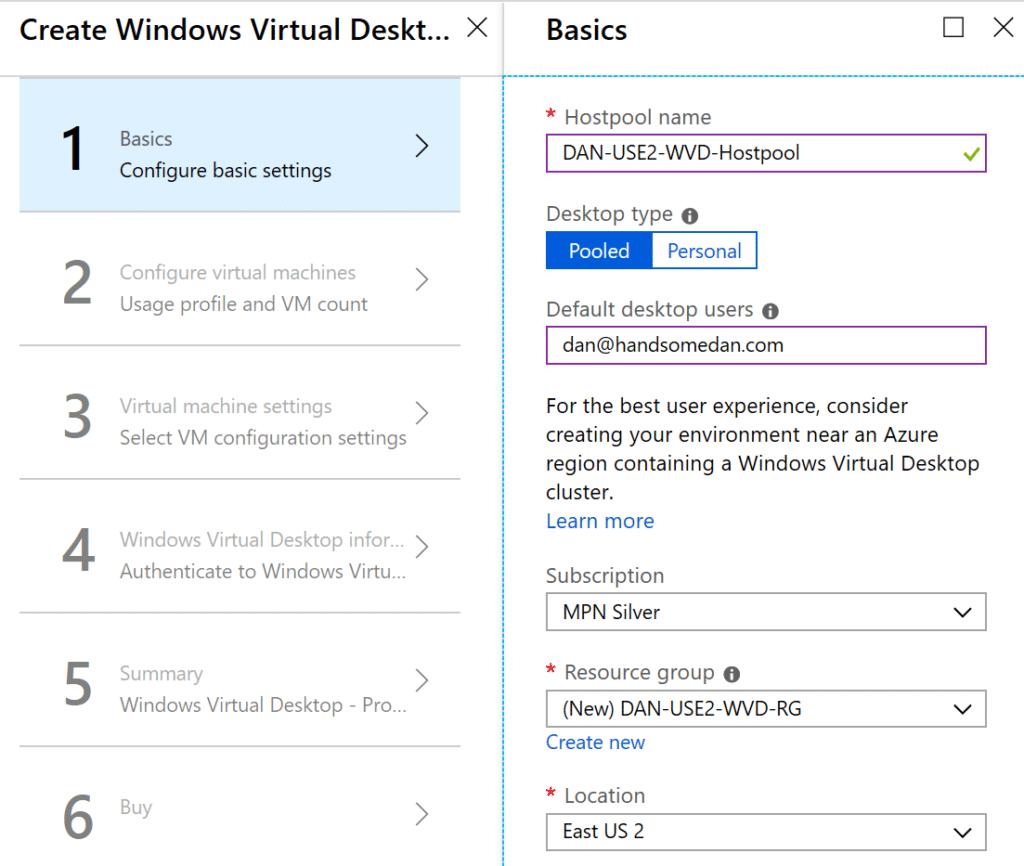 Deploy Windows Virtual Desktop Pool Provisioning Screen