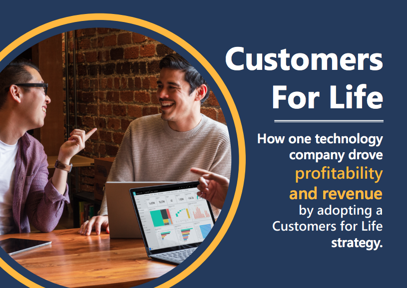 Image shows collaboration and Microsoft's Customers for Life program.
