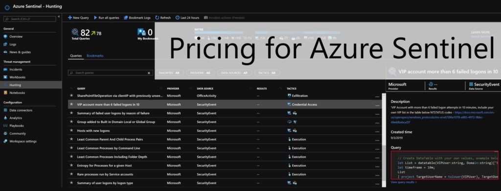 Pricing for Azure Sentinel is GA 1